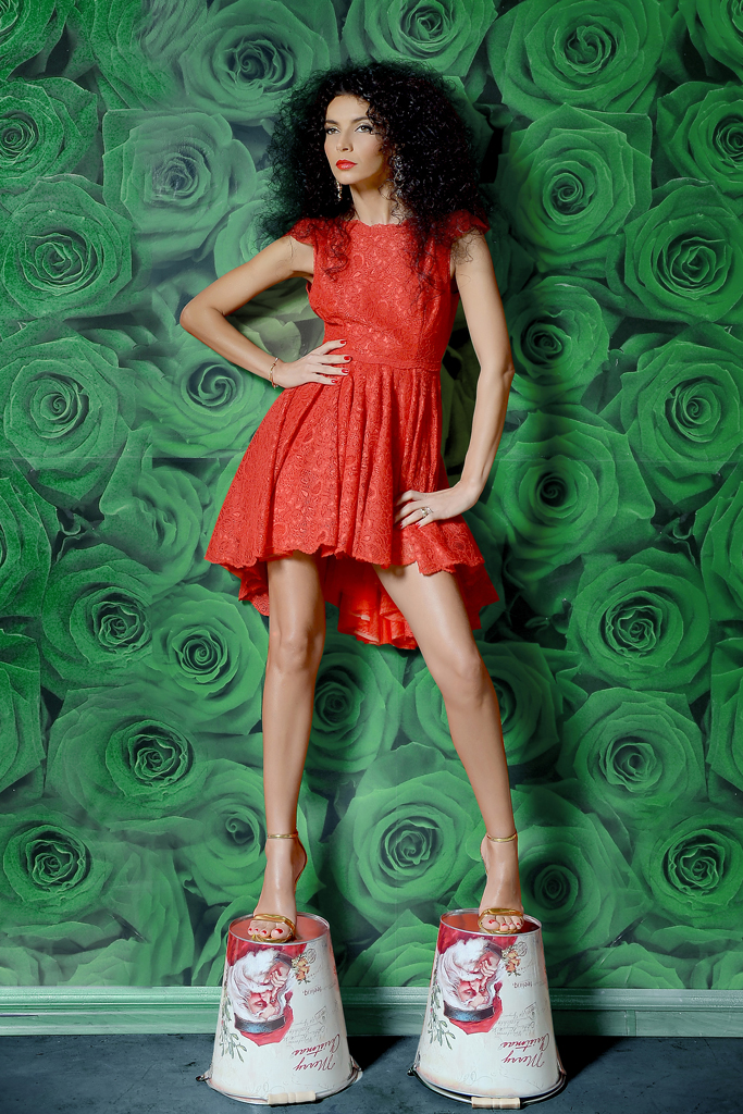 Simonity red lace dress Dana Budeanu